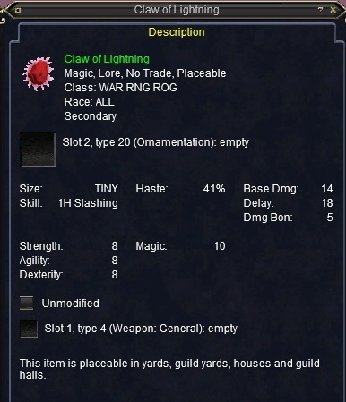 Claw of Lightning :: Items :: EverQuest :: ZAM