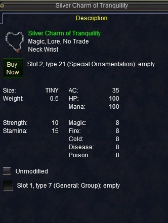 Silver Charm of Tranquility :: Items :: EverQuest :: ZAM