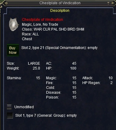 Chestplate of Vindication :: Items :: EverQuest :: ZAM