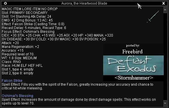 Aurora, the Heartwood Blade :: Items :: EverQuest :: ZAM
