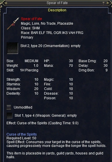 Spear of Fate :: Items :: EverQuest :: ZAM