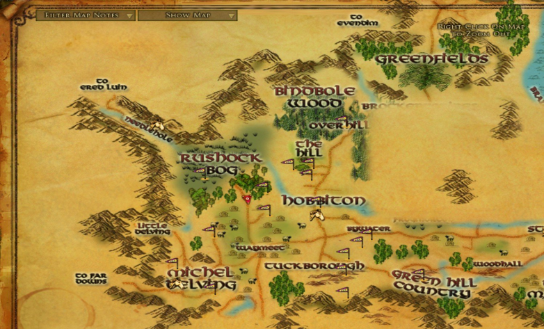 Map - The Shire :: Wiki :: EverQuest II :: ZAM