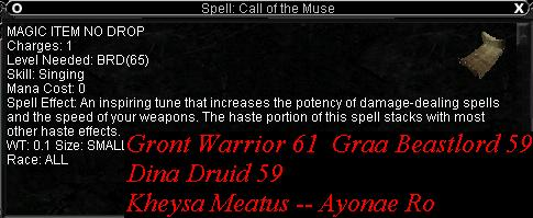 Song: Call of the Muse :: Items :: EverQuest :: ZAM