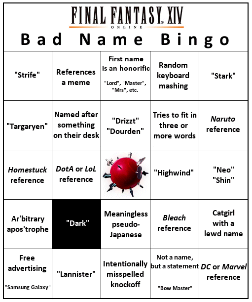 Bad Name Bingo