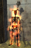 a flaming horned skeleton