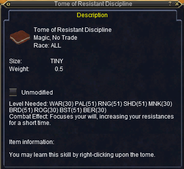 Tome of Resistant Discipline :: Items :: EverQuest :: ZAM
