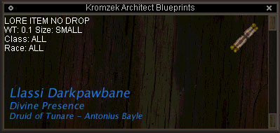 Kromzek Architect Blueprints Items EverQuest ZAM