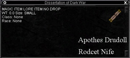 Dissertation of dark war