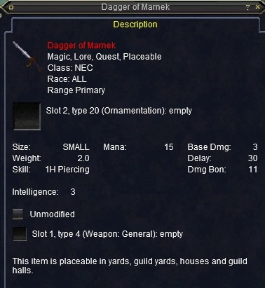 Dagger of Marnek :: Items :: EverQuest :: ZAM