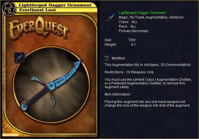 Lightforged Dagger Ornament :: Items :: EverQuest :: ZAM