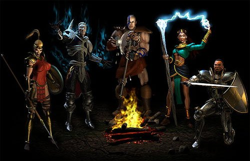 The five available character classes in Diablo II: Amazon, Necromancer, Barbarian, Sorceress and Paladin