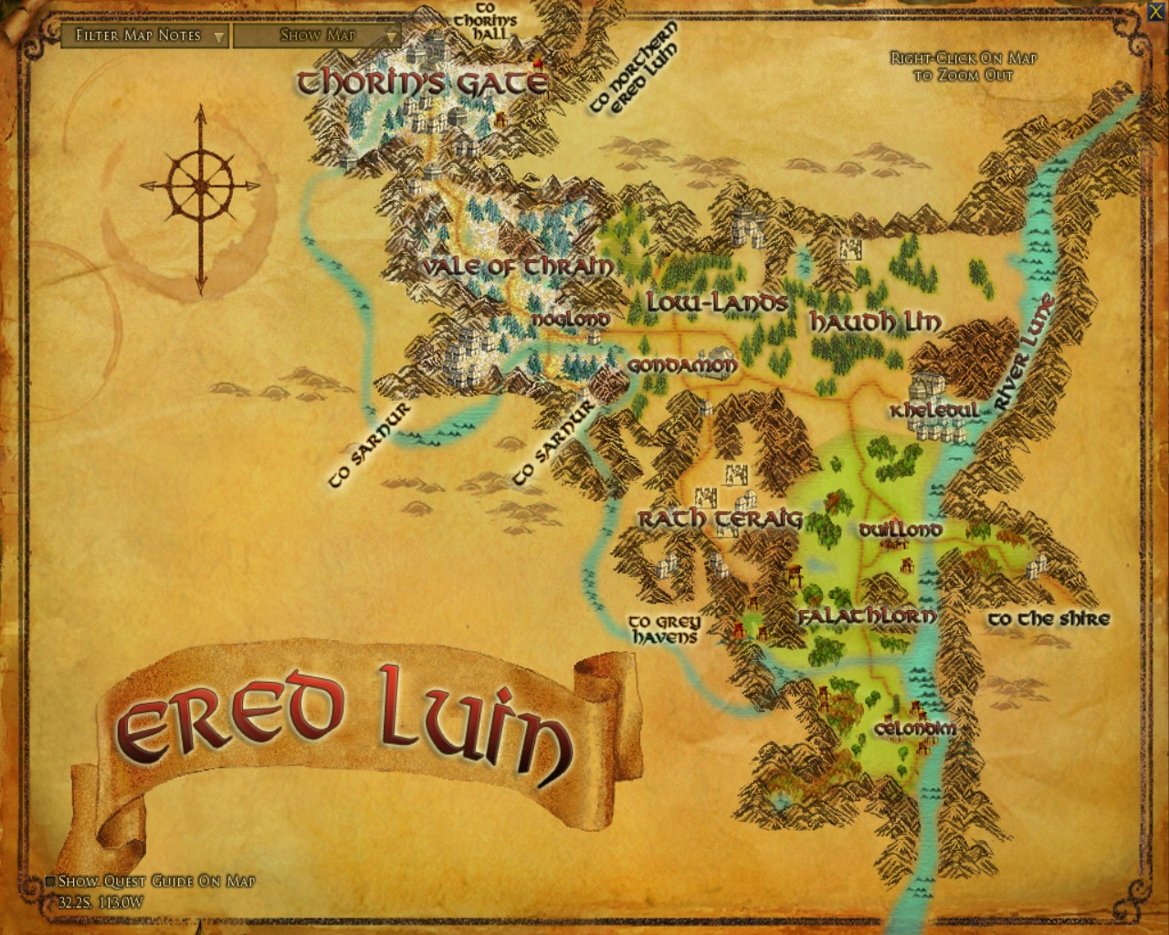 Ered Luin Zones Lord Of The Rings Online Zam