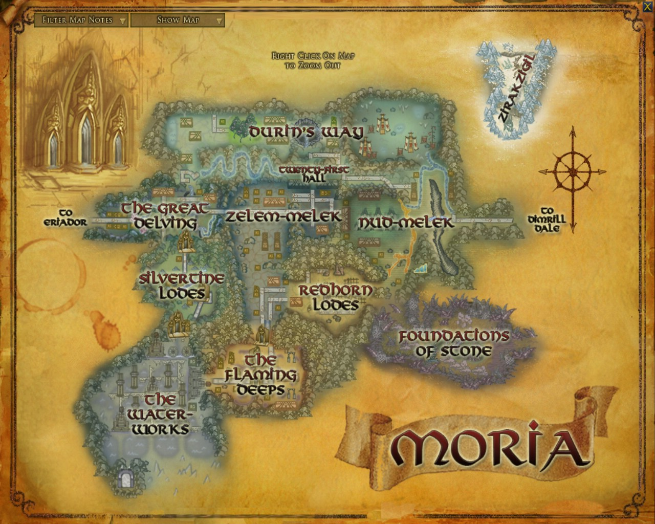 moria maps lord of the rings zam